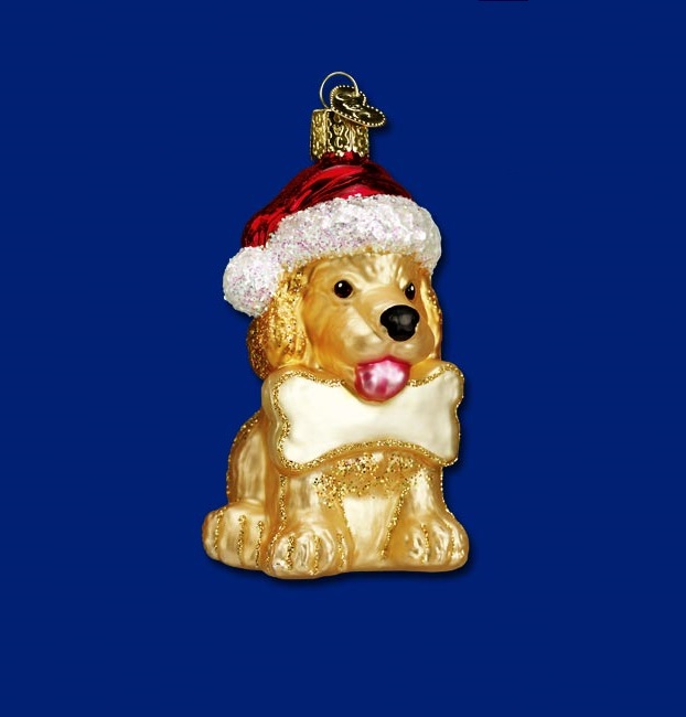 Jolly Pup Glass Ornament
