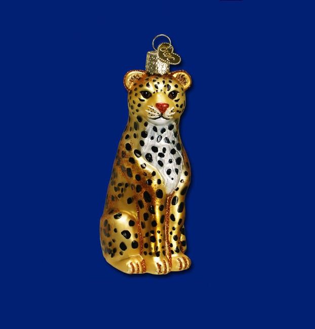 Leopard Glass Ornament