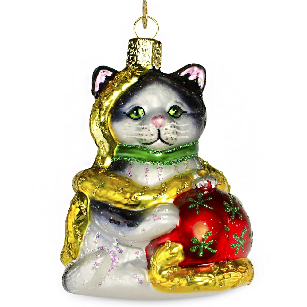 Holiday Kitten Glass Ornament