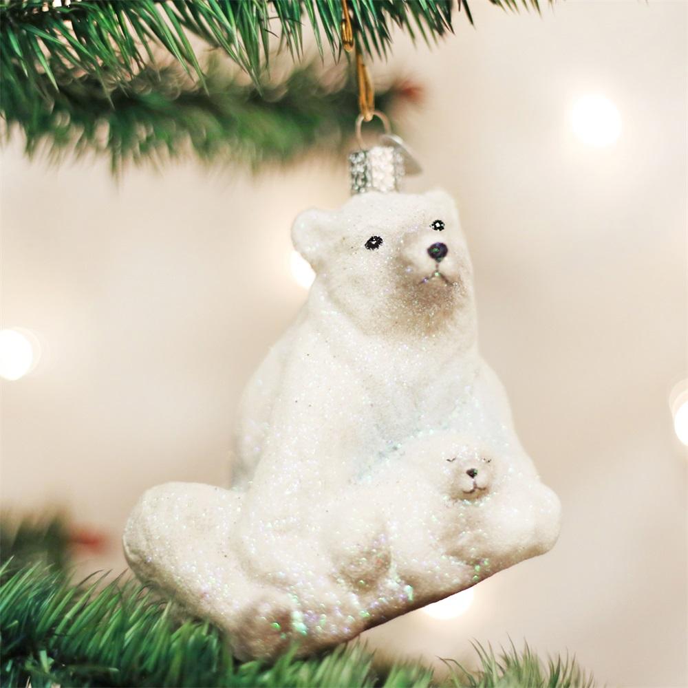 Old World Christmas 12249 Polar Bear With Cub Ornament