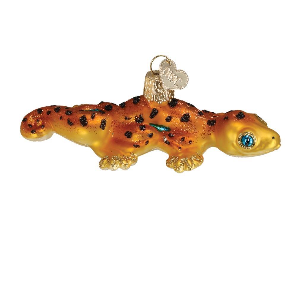 Yellow Gecko Glass Ornament