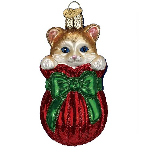 Letting the Cat Out of the Bag Glass Ornament