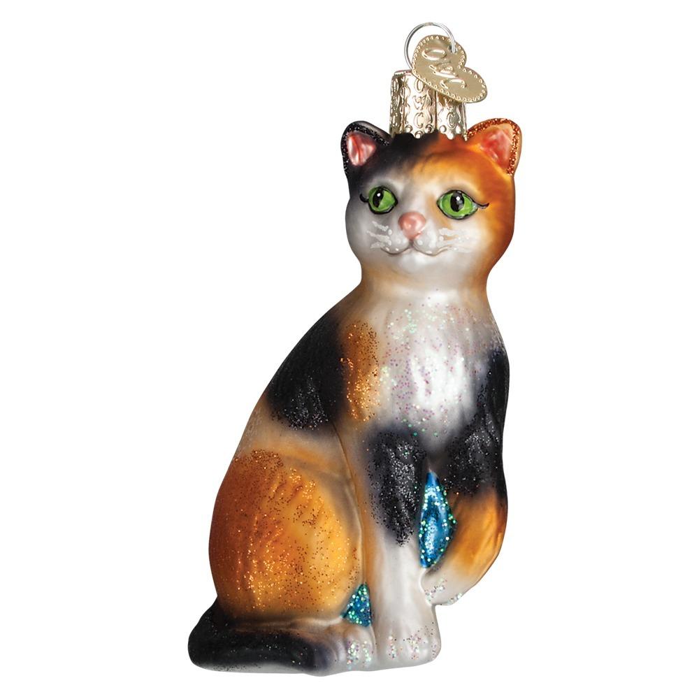 old world christmas 12399 calico cat glass ornament - Merck Family Old World Christmas