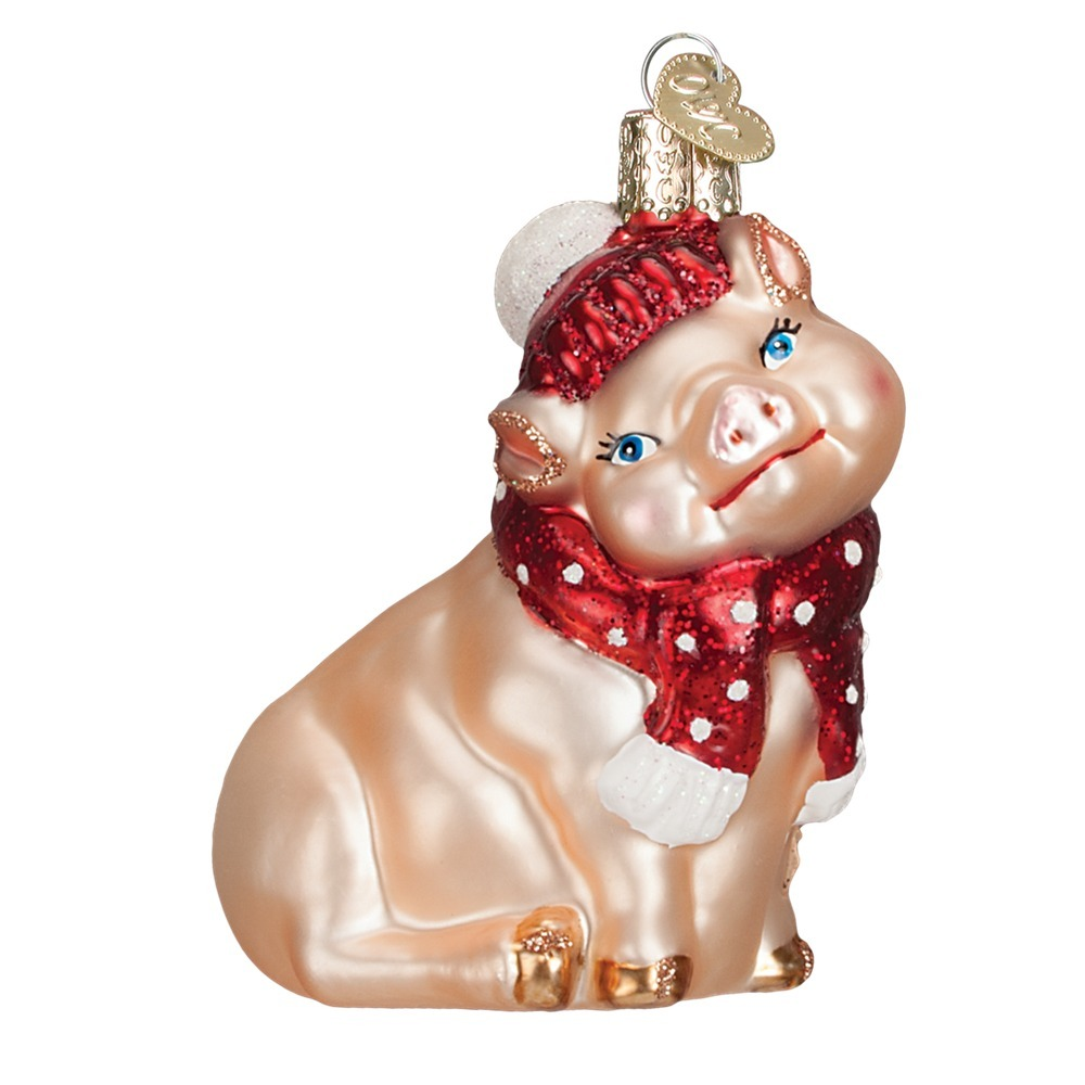 Snowy Pig Glass Ornament