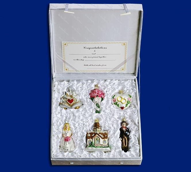Wedding Collection, Set of 6 Glass Ornament
