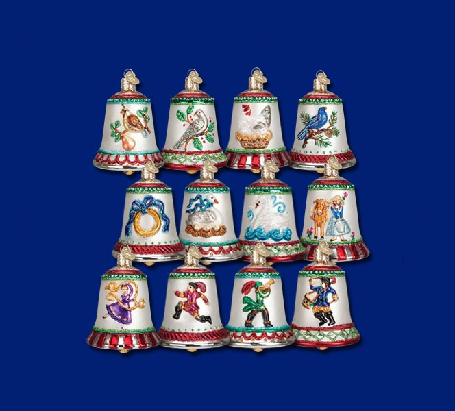 old world christmas 12 days of christmas bells blown glass ornaments set of 12 14019 - 12 Days Of Christmas Ornament Set