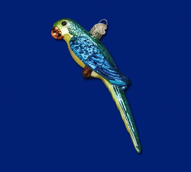 Parakeet Glass Ornament