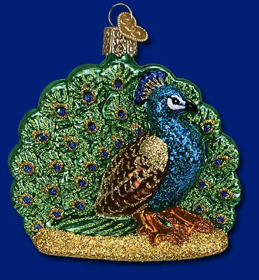 Proud Peacock Glass Ornament
