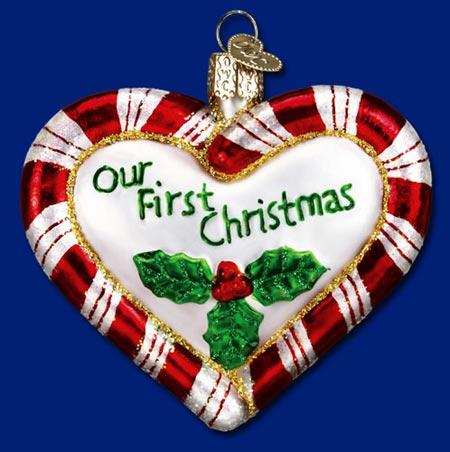 Peppermint Heart Glass Ornament