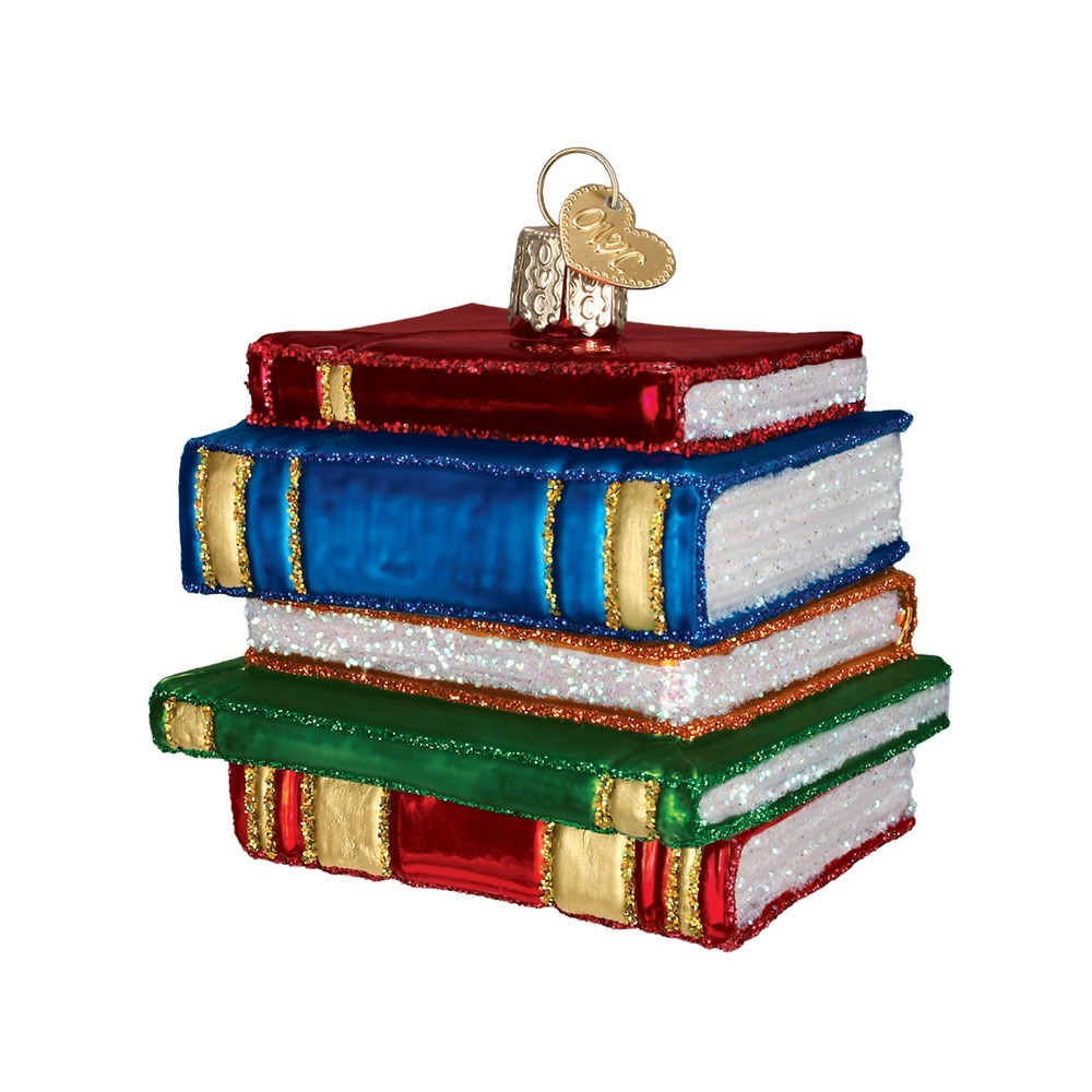 OLD WORLD CHRISTMAS 32112 Stack Of Books Glass Ornament