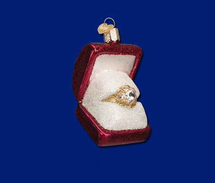 Ring in Box Glass Ornament