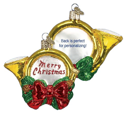Holiday Horn Glass Ornament