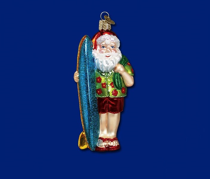 old world xmas surfer santa glass ornament - Merck Family Old World Christmas