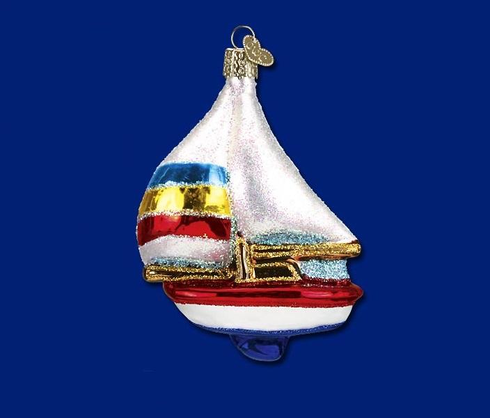 Sailboat Glass Ornament
