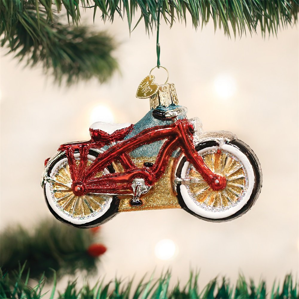 Bicycle Christmas Tree Decorations Ornaments: OLD WORLD CHRISTMAS 46063 Cruiser Bike Ornament