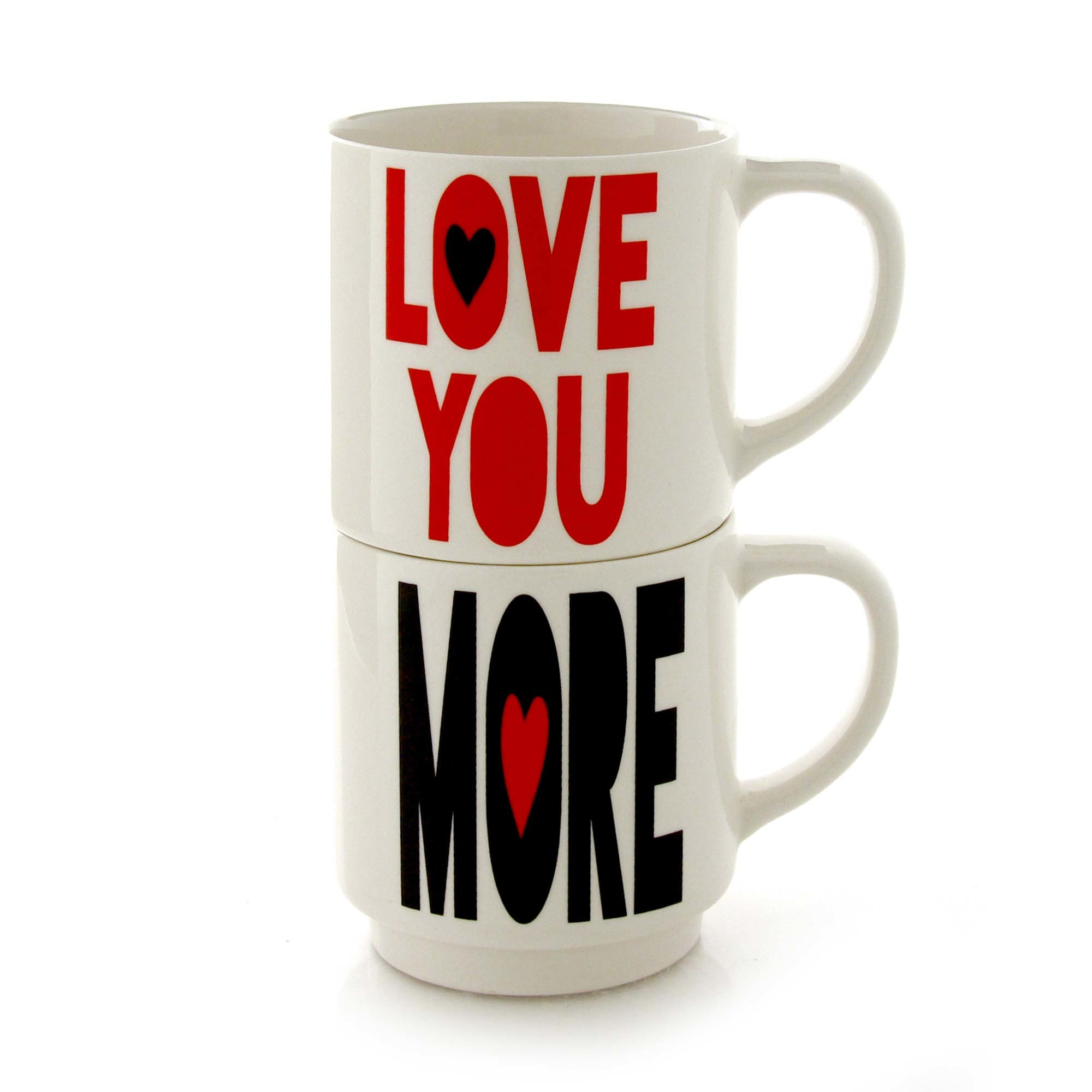 I Love You More Stacked Mugs -