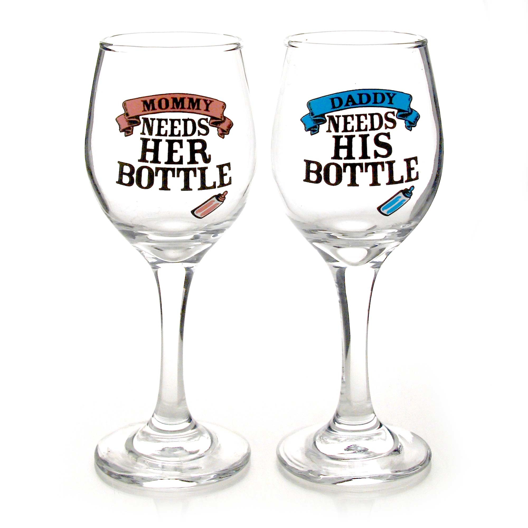 Sippy Cup Wine Glass Set - Its Time For Daddys Bottle, Its time For Mommys Bottle