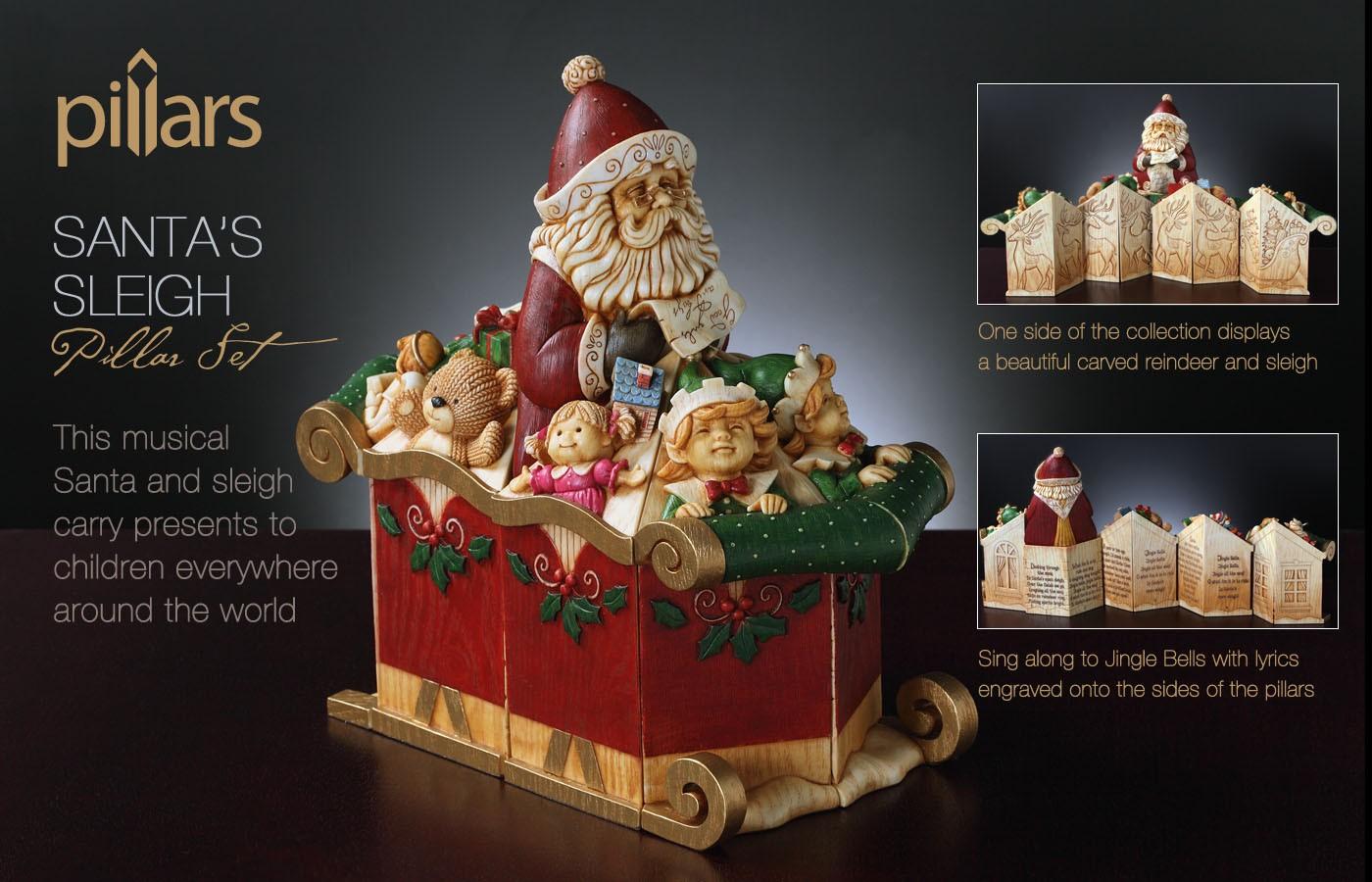 Musical Santa's Sleigh - Set of 9