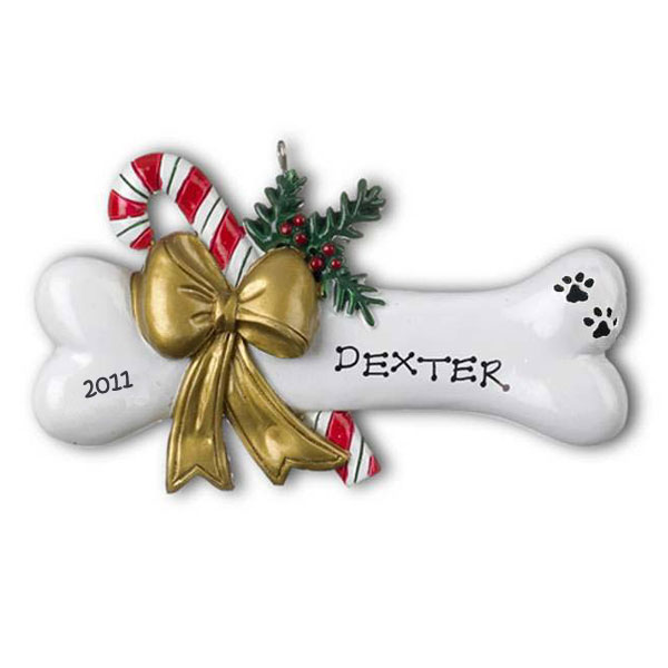 Dog Bone with Holly Ornament - Personalizable