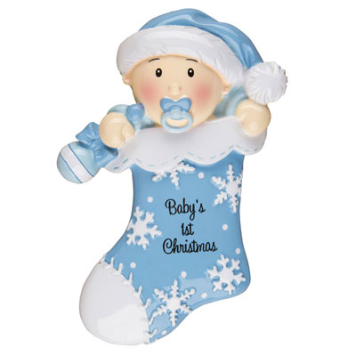 """Baby's First Christmas"" Blue Stocking Ornament - Personalizable"