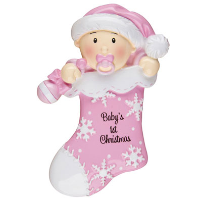 """Baby's First Christmas"" Pink Stocking Ornament - Personalizable"