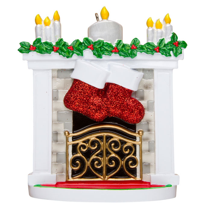 Mantle with Stockings, Family of 2 Ornament - Personalizable
