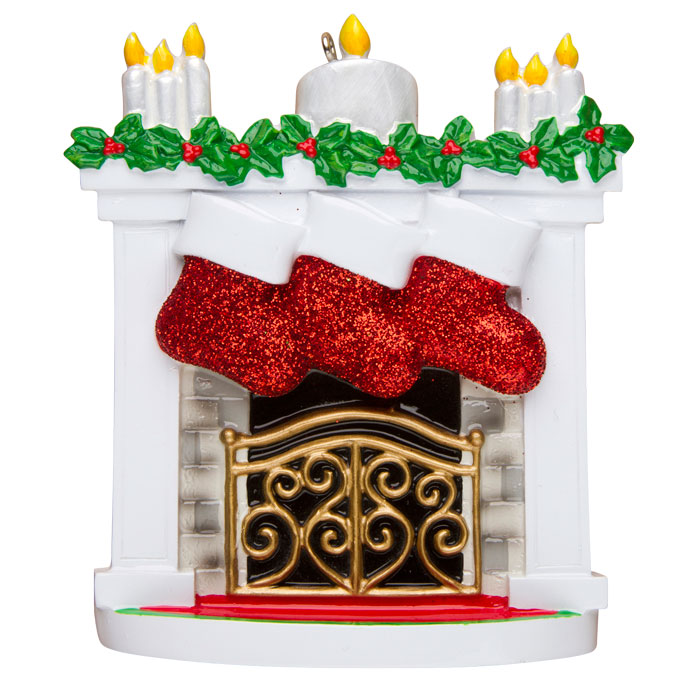 Mantle with Stockings, Family of 3 Ornament - Personalizable