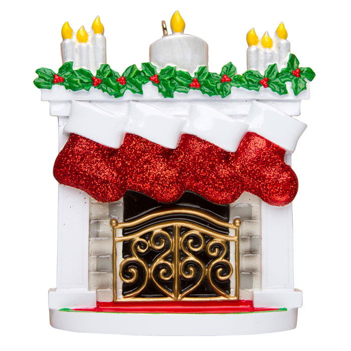 Mantle with Stockings, Family of 4 Ornament - Personalizable