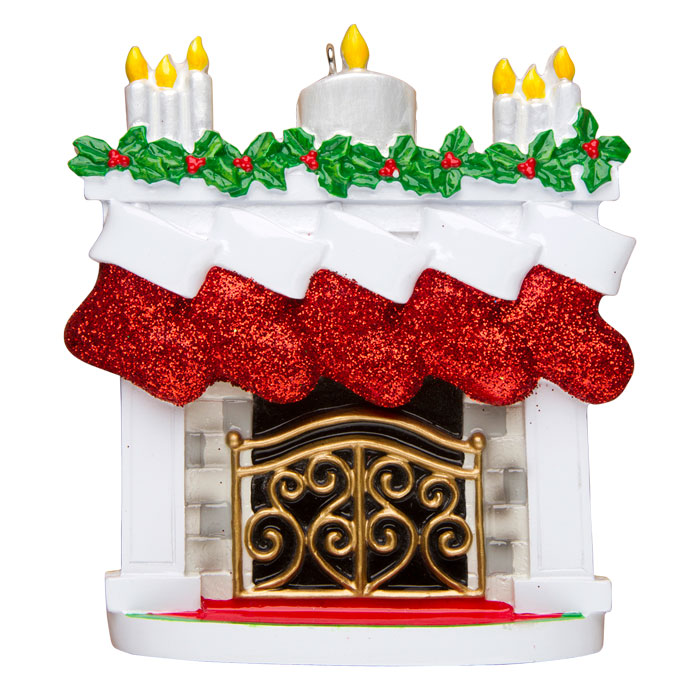 Mantle with Stockings, Family of 5 Ornament - Personalizable