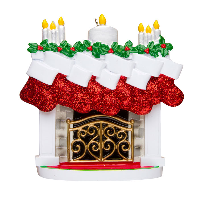 Mantle of Stockings, Family of 9 Ornament - Personalizable