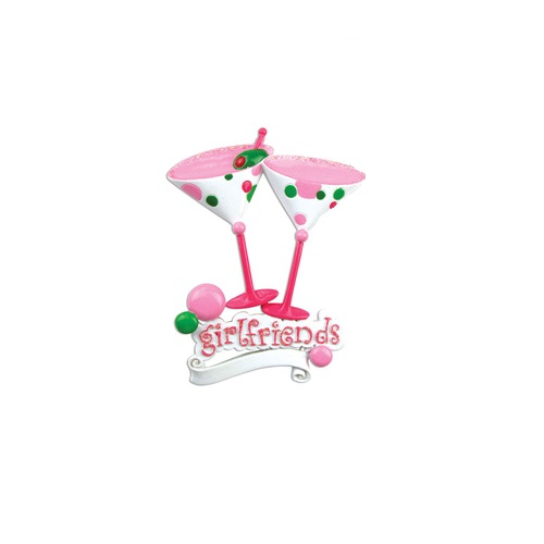 """Girlfriends"" with Two Martini Glasses Ornament - Personalizable"