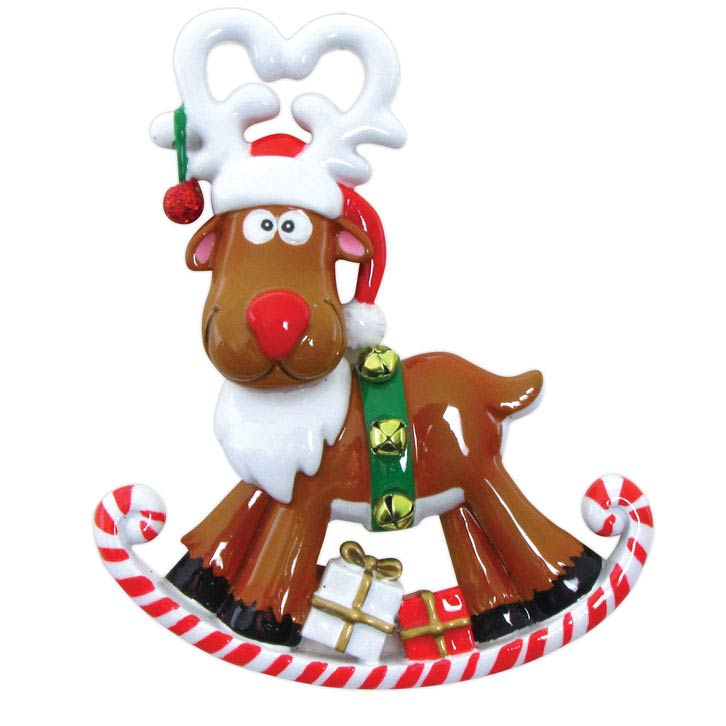 Rocking Reindeer Ornament - Personalizable