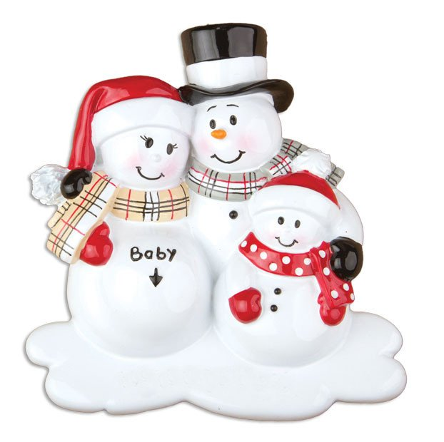 Were Expecting With One Child - Snowman Couple With Kid