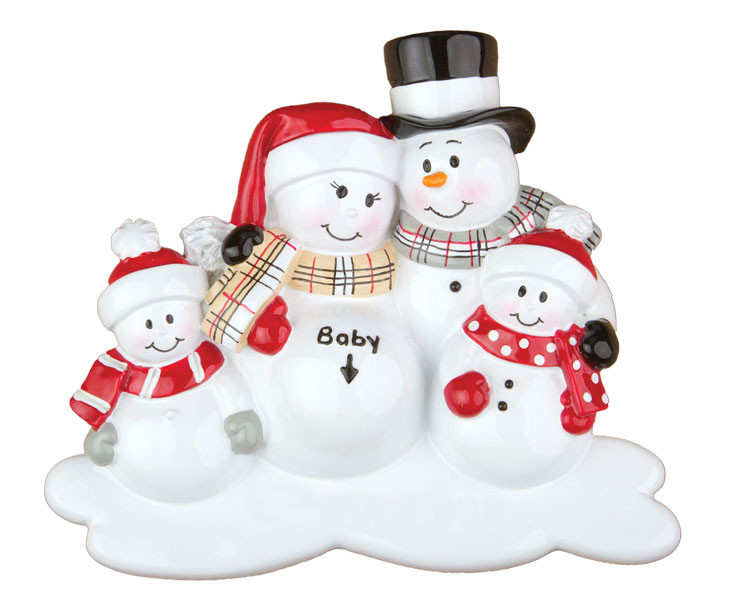 Were Expecting - Snowman Couple With Two Kids