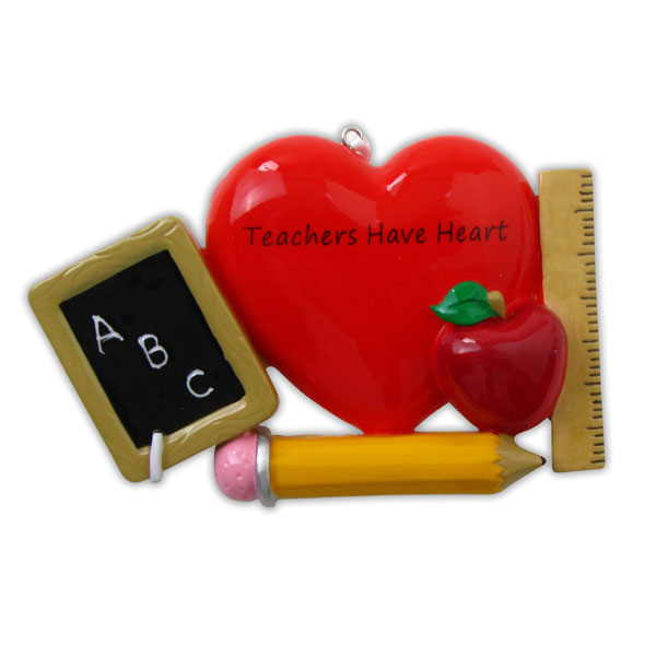 """Teachers Have Heart"" Apple Ornament - Personalizable"