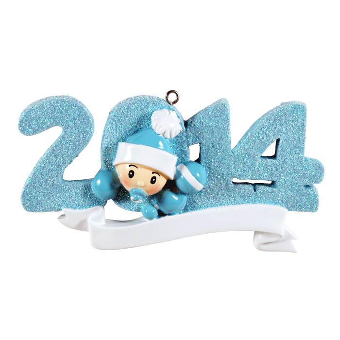 """2014"" Blue Baby's First Christmas Ornament - Personalizable"