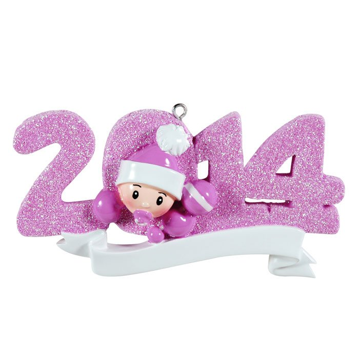 """2014"" Pink Baby's First Christmas Ornament - Personalizable"