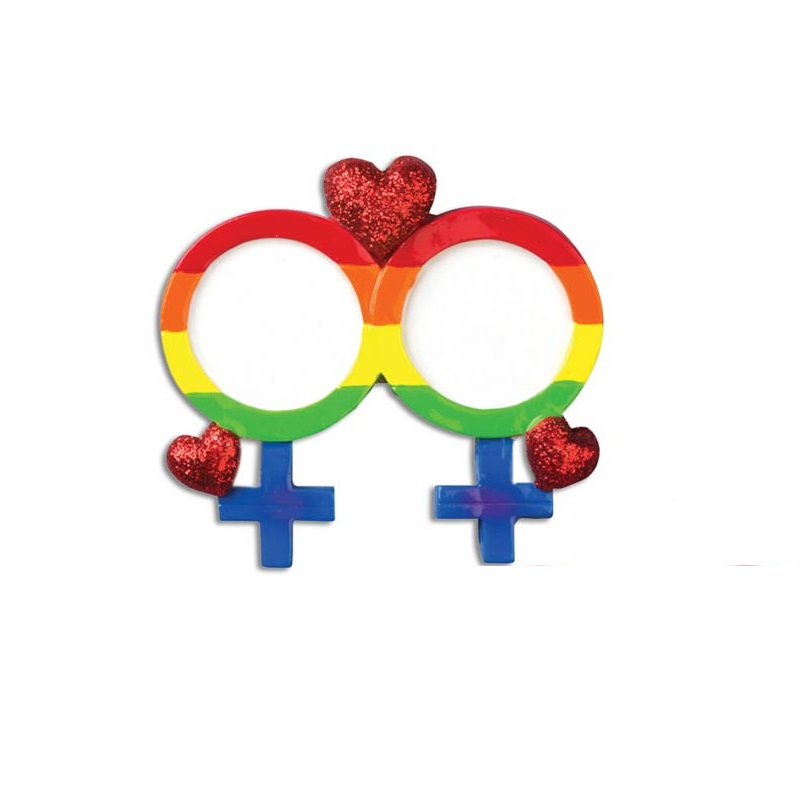 Gay Pride with Female Symbol Ornament - Personalizable
