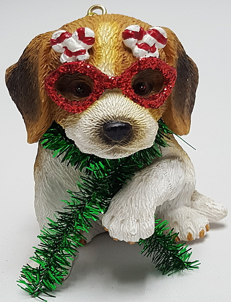 Beagle Pup with Glasses Ornament