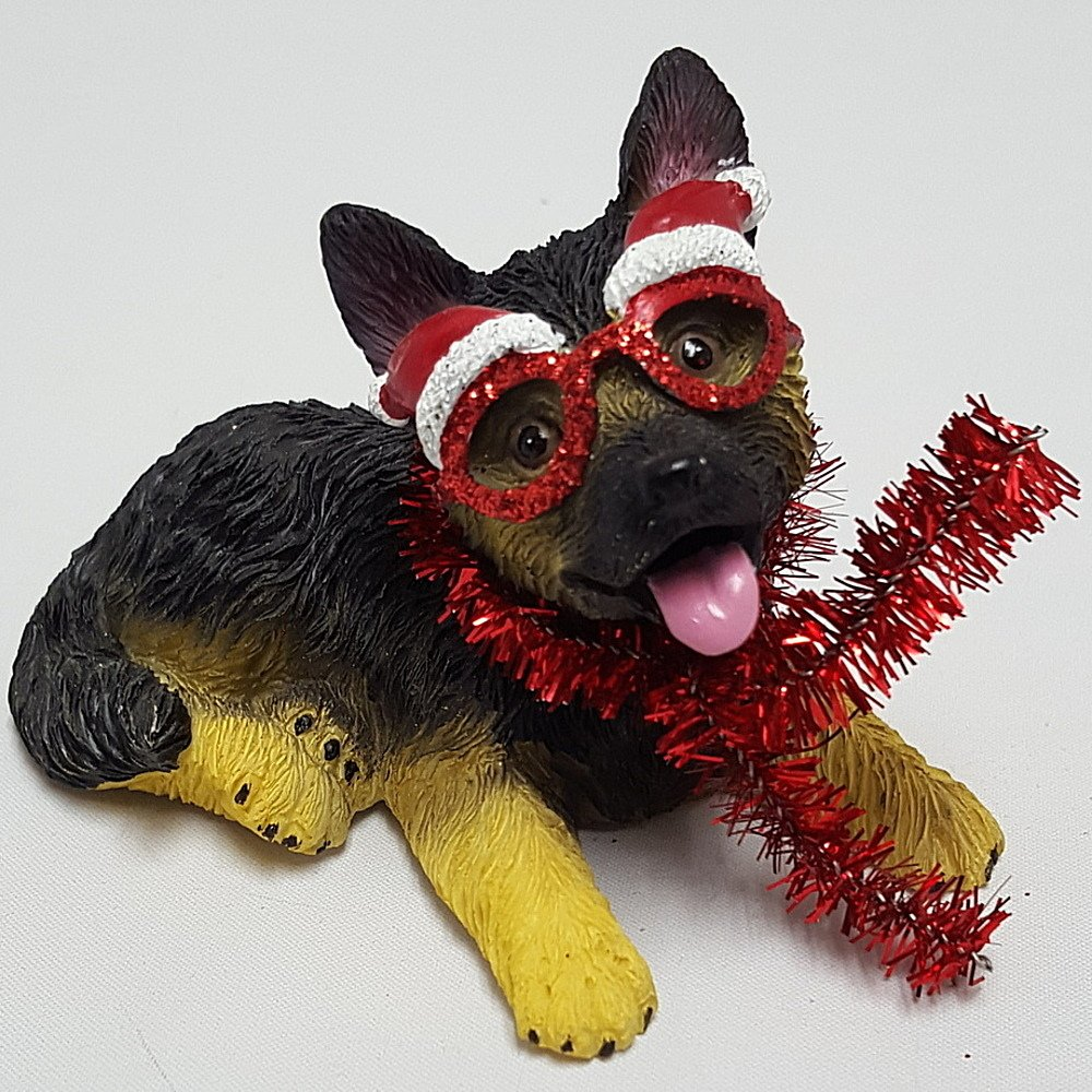 German Sheperd Pup with Glasses Ornament