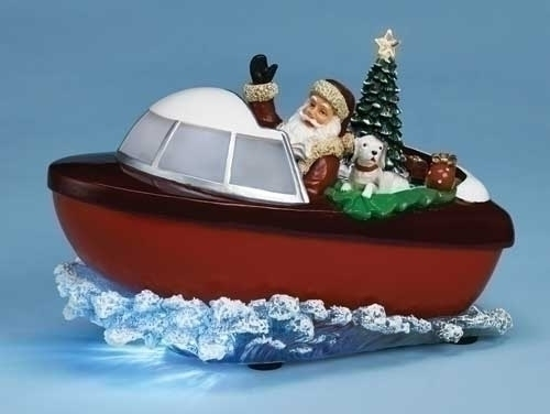 Musical LED Santa in Boat