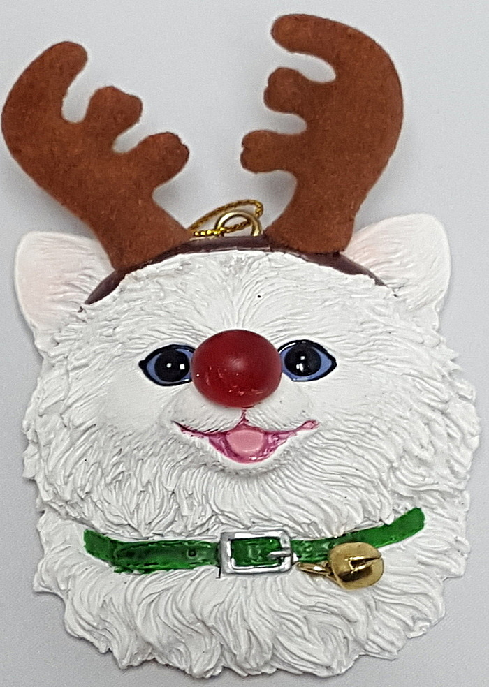 White Cat with Antlers Ornament