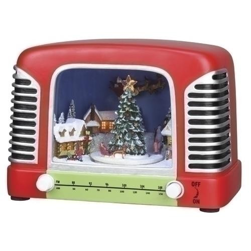 LED Radio with Christmas Village Scene with Animation - By Roman