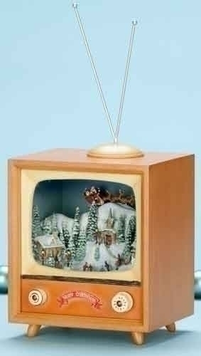 Musical TV Box with Santa Over Town