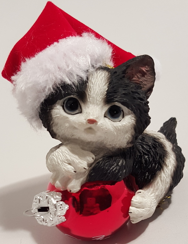 Black and White Cat with Hat Ornament
