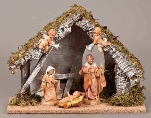 Wedding Gift Nativity - 5 Piece Figure Set with Italian Stable - 5''