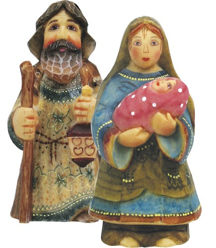 Mary & Joseph - Nativity Ornaments, Set of 2