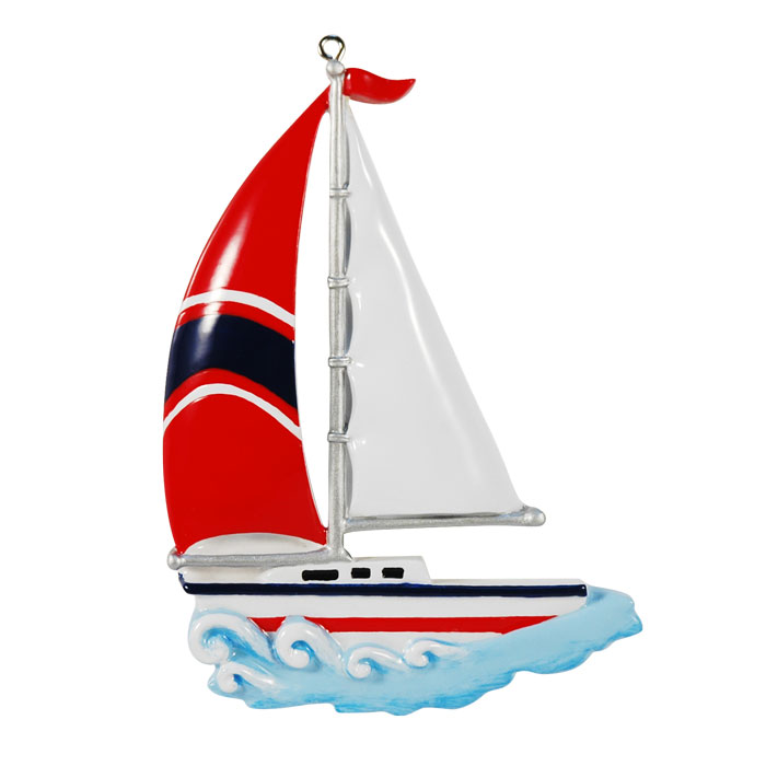 Sailboat Ornament - Personalizable