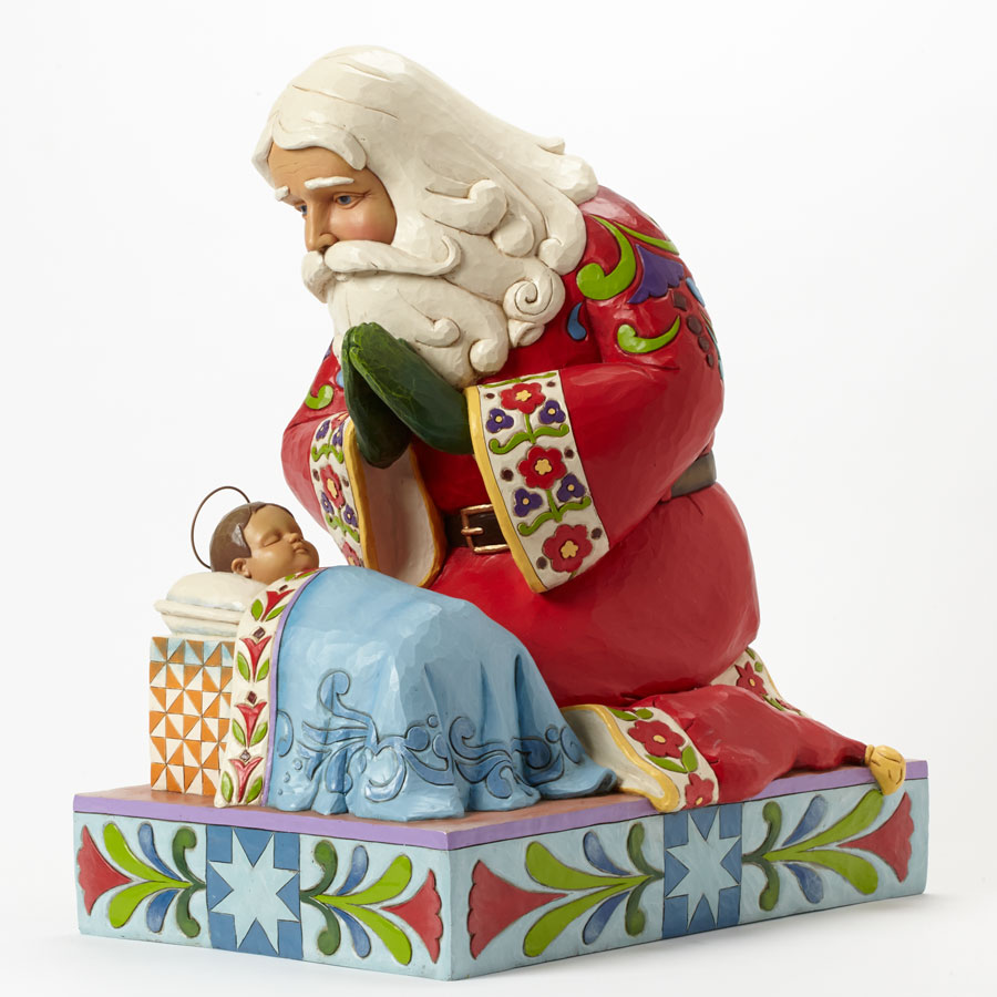 Jim Shore Heartwood Creek 4040896 Santa With Baby Jesus Statue