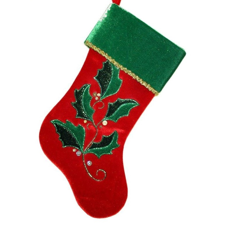 Green and Red Velvet Stocking with Holly Design - Personalizable